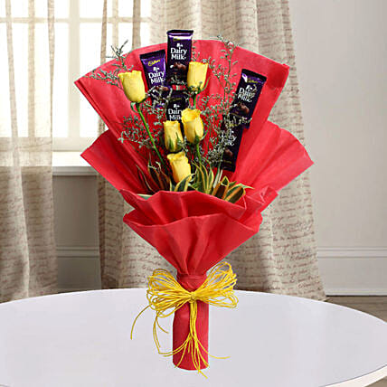 Cadbury With Rose: Chocolate Bouquet