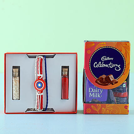 Captain America Rakhi Celebrations Box: Rakhi Gifts