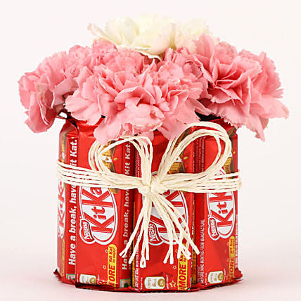 Carnations & Kit Kat Glass Arrangement: Chocolate Combos
