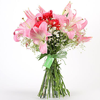 Carnations & Lilies Hand Tied Bunch: Gifts to India