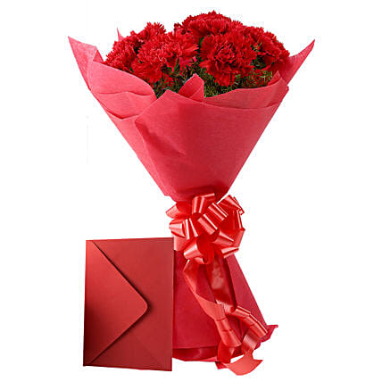 Carnations N Greeting Card: Buy Flowers Combo