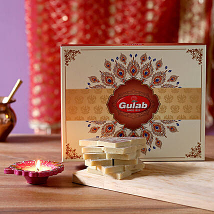 Celebrations With Kaju Katli- 500 gms: Send Diyas