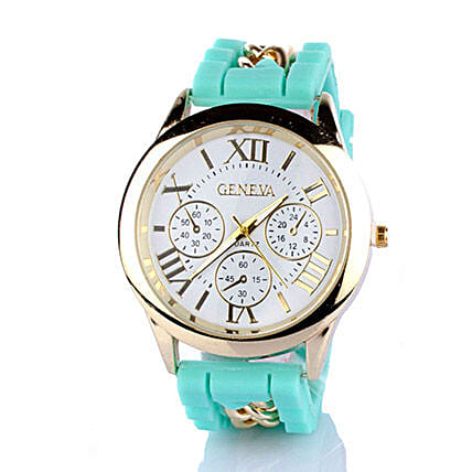 Chained Turquoise Silicone Watch For Women: Buy Watches