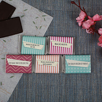 Chocolate Bars For Sister- 5 Pieces: Personalised Chocolates