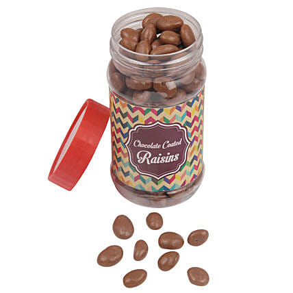Chocolate Coated Raisin Jar: Send Holi Chocolates