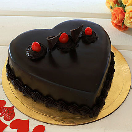 Chocolate Truffle Heart Cake Gifts For Husband