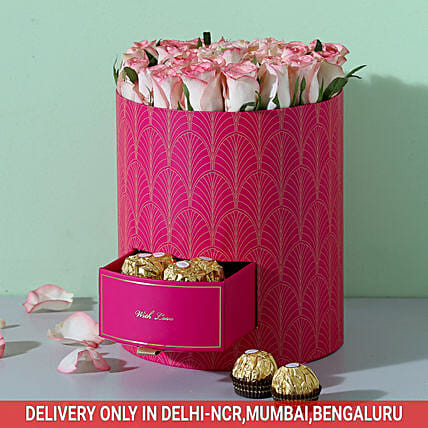 Chocolates & Shaded Roses Box: Flowers In box