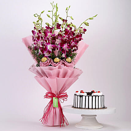 Chocolaty Orchids Bouquet & Black Forest Cake: Flower Bouquet with Cake