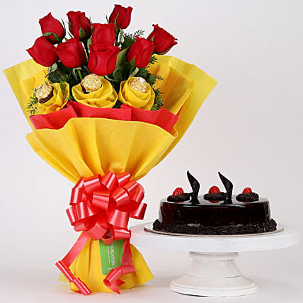 Chocolaty Red Roses & Truffle Cake Combo: Flower Bouquet with Cake