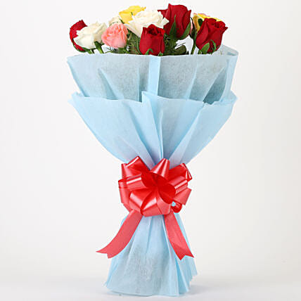 Colourful Mixed Roses Bouquet Same Day Delivery Gifts