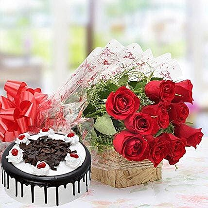 Combo of Red Roses And Black Forest Cake: Flowers & Cake Combos