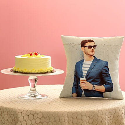 Creamy Butterscotch Cake & Picture Cushion Combo:
