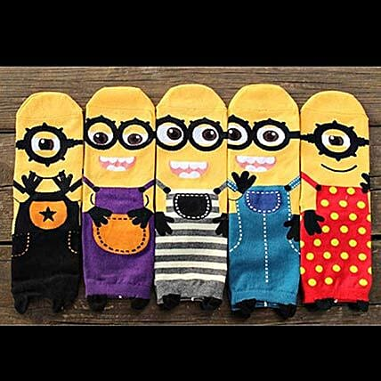 Cute Minions Full Length Socks 5 Pairs: Children's Day Gifts
