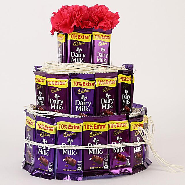 Dairy Milk & Carnations- 3 Tier Arrangement: Flower Combos