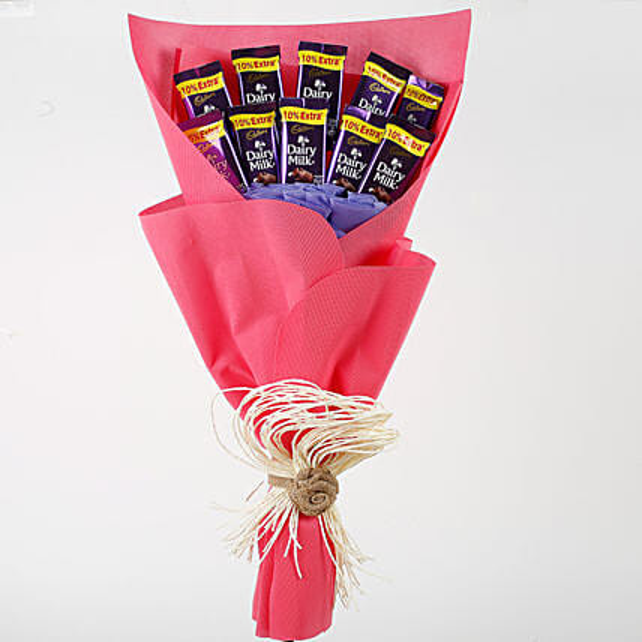 Dairy Milk Chocolates Red Paper Bouquet: Chocolate Bouquet