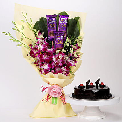 Dairy Milk & Orchids With Truffle Cake: