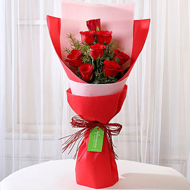 Elegant 8 Red Roses Bouquet: