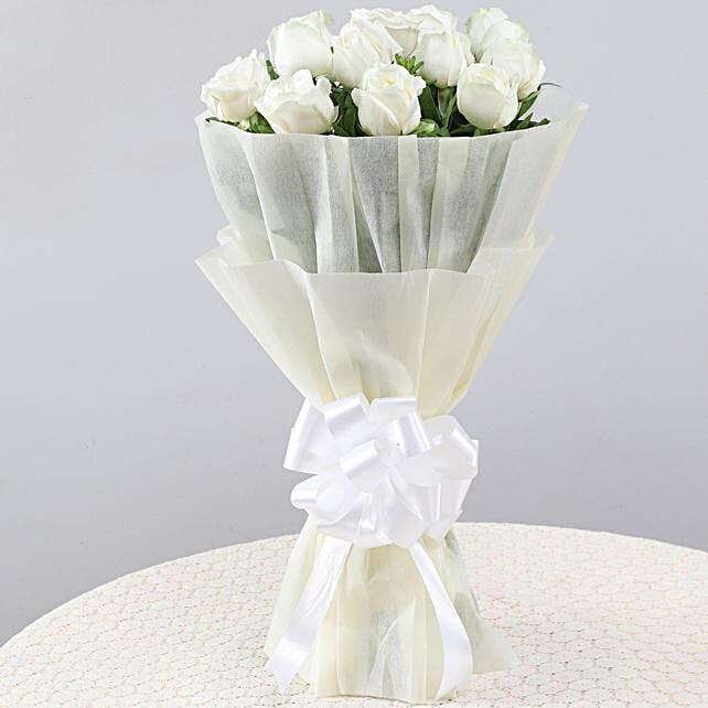 Elegant Pristine White Roses Bouquet: Hug Day Gifts