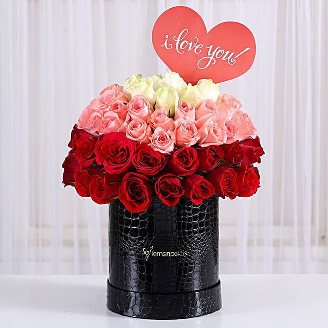Eternal Love- Mixed Roses Box Arrangement: