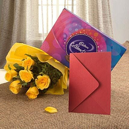 Flower Hamper N Greeting Card: Flower N Greeting Card
