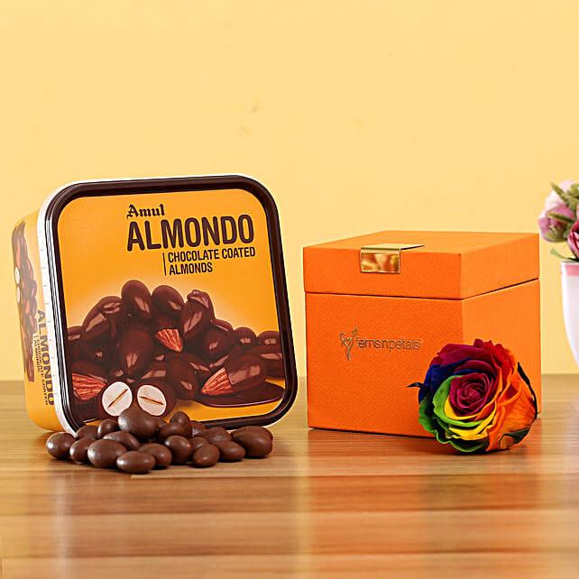 Forever Rainbow Rose & Amul Almondo: Buy Flowers Combo