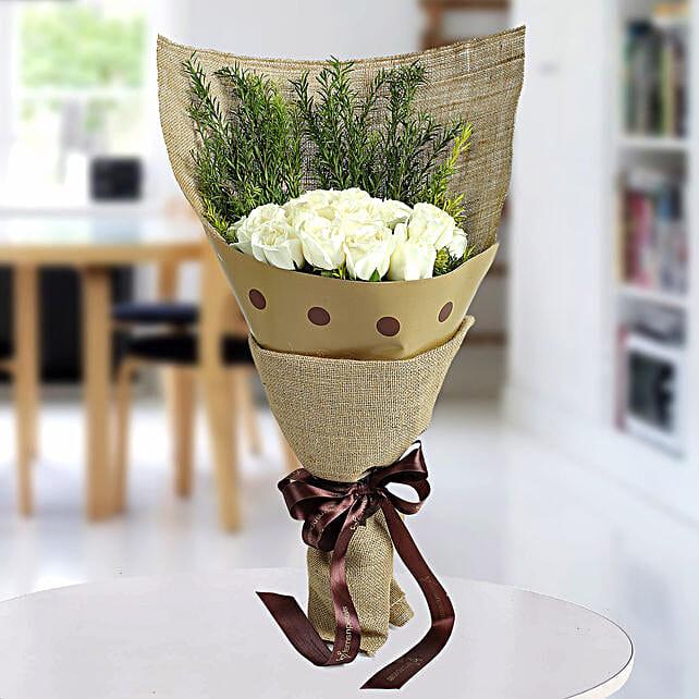 Fresh White Roses Bunch: Sympathy N Funeral