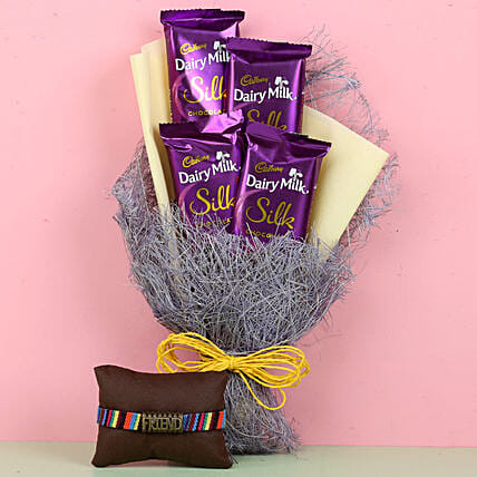 Friendship Band & Dairy Milk Silk Bouquet: Send Chocolate Bouquet