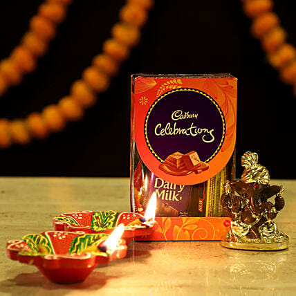 Gold Plated Ganesha Festive Hamper: Chocolates Shopping India