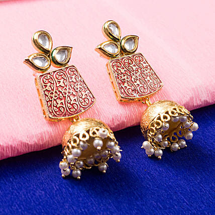 Gold Plated Red Dome Jhumkas: Send Jewellery Gifts