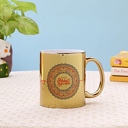 Golden Ceramic Rakhi Mug: Buy Coffee Mugs