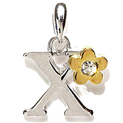 Golden Peacock Silver Plated Letter X Pendant: Gold Plated Gifts