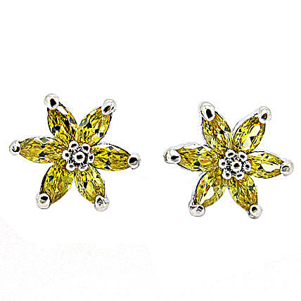 Golden Peacock Yellow Earrings: Send Jewellery Gifts