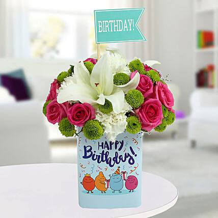 Hy Birthday Mixed Flowers Arrangement Fresh Flower