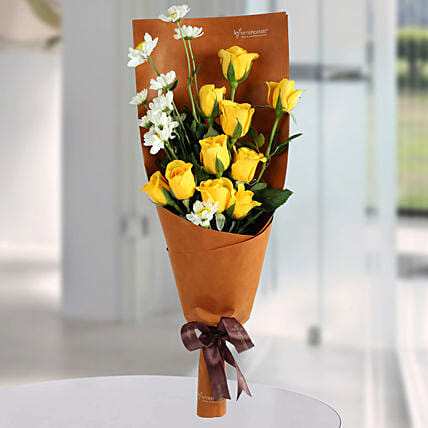Happy Yellow Roses Bunch: Mixed Flowers