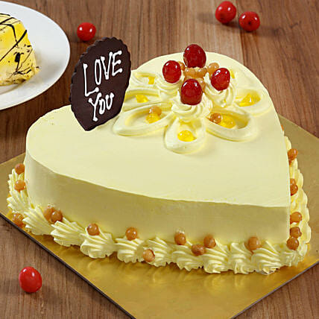 Heart Shaped Butterscotch Cake: Romantic Cakes