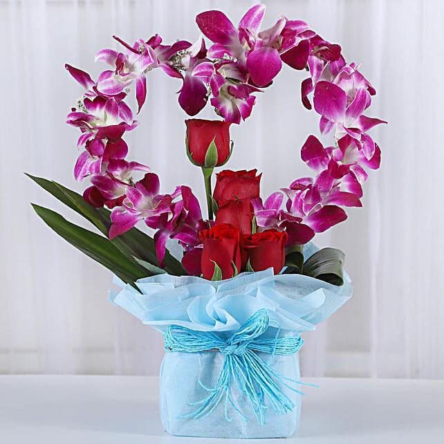 Romantic Heart Shaped Orchids Arrangement: Mixed flowers