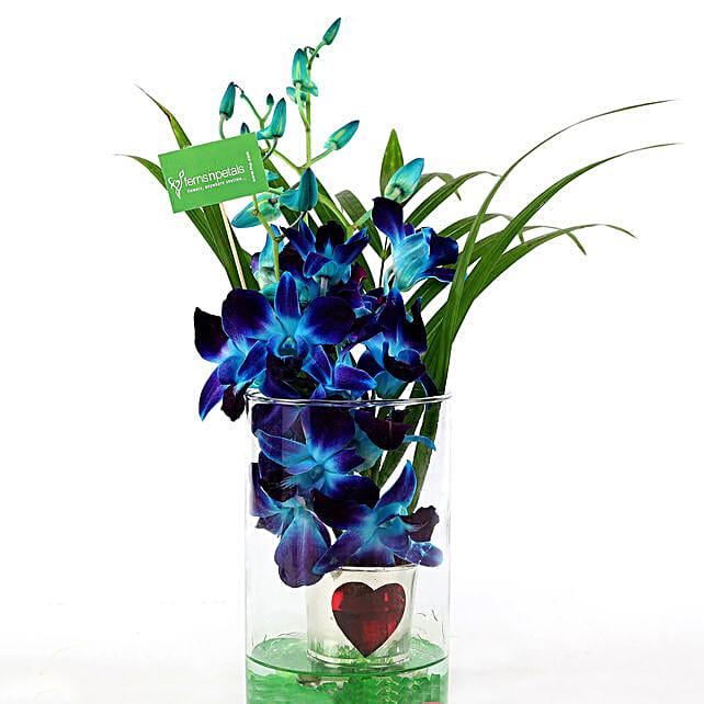 Hearty Orchid Vase Arrangement: Exotic Flowers