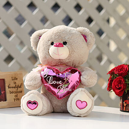 I Love You Teddy Bear With Pink Heart: Teddy Day Gifts