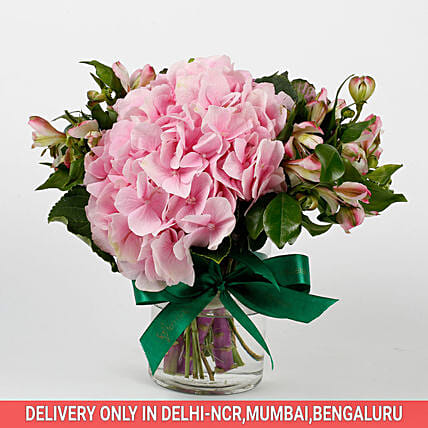 Imported Light Pink Hydrangea Flowers in Glass Vase: Vase Arrangements
