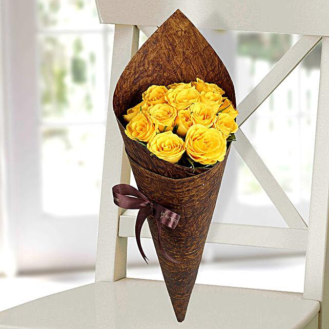 Joyful Yellow Roses Bunch: Yellow Flowers