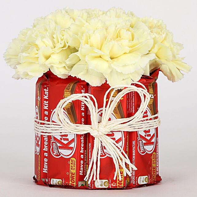 Kit Kat & Yellow Carnations Arrangement: Buy Flowers Combo