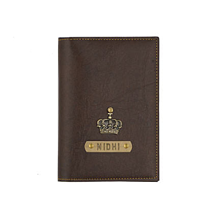 Leather Finish Passport Cover Dark Brown: Personalised Accessories