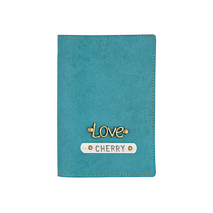 Leather Finish Passport Cover Turquoise: