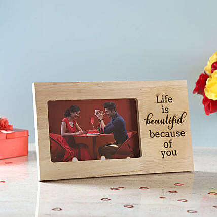 Life is Beautiful Engraved Wooden Frame: Personalised Engraved