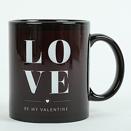 Love Ceramic Black Mug: Send Birthday Gifts to Udupi