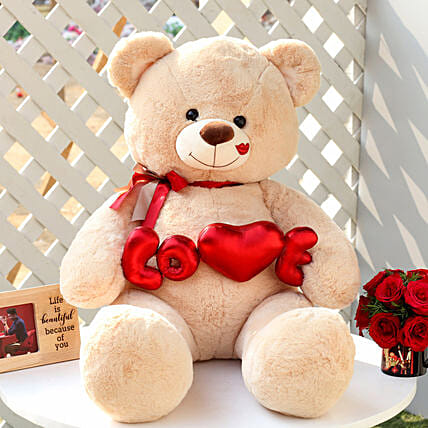 Love Teddy Bear Beige Color Large: Soft Toys Gifts