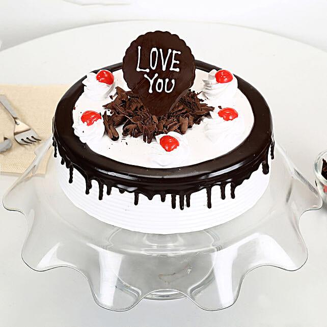 Love You Valentine Black Forest Cake: Send Black Forest Cakes