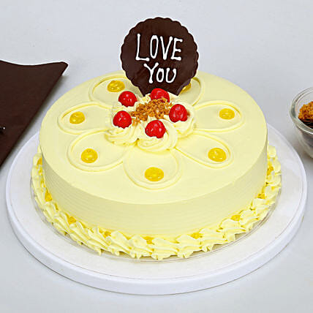 Love You Valentine Butterscotch Cake: Cakes