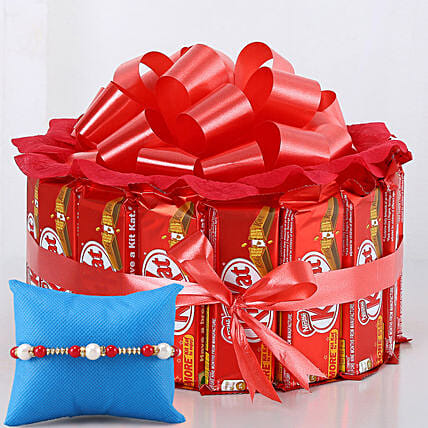 Meenakari Rakhi & Kit Kat Chocolate Arrangement:
