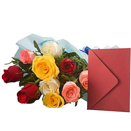 Mix Roses N Greeting Card: Send Flowers & Cards